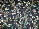 BRUNSCHWIG & FILS SILK ROAD FLORAL COTTON FABRIC BLACK MULTI SAMPLE