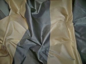 PINDLER & PINDLER KOVENTRY STRIPES SILK TAFFETA FABRIC CREAM STEEL