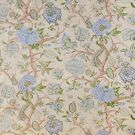SCALAMANDRE PONDICHERRY COTTON FABRIC BLUE  GREEN ON CREAM