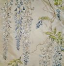 COLEFAX & FOWLER WISTERIA EMBROIDERED SILK FABRIC 10 YDS BLUE GREEN OYSTER CREAM