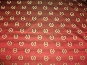 LEE JOFA KRAVET NEOCLASSICAL BEE SILK DAMASK FABRIC 10 YARDS RUBY RED