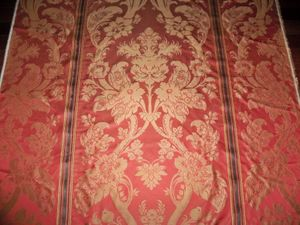 BEACON HILL CAPE BREEZE LOTUS SILK DAMASK FABRIC 10 YARDS PERSIMMONS GOLD