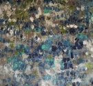 LEE JOFA KRAVET PAINTED VELVET FABRIC BLUE GREEN MULTI