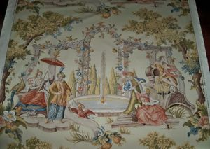 BRUNSCHWIG & FILS PERSIAN COSI FAN TUTTE TOILE FABRIC 10 YARDS IN 2 CUTS GOLD (7.5 Y + 2.5 Y)