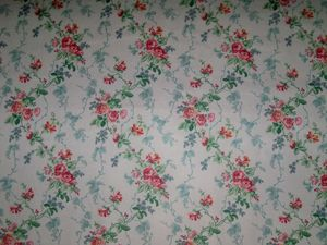 LEE JOFA KRAVET SHABBY ROSES VINE POLISHED COTTON FABRIC 10 YARDS PINK AQUA