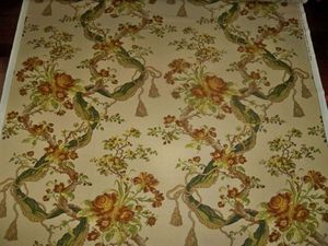 SCALAMANDRE OLD WORLD WEAVERS FIORE E FIOCCO DAMASK FABRIC 11 YARDS BEIGE MULTI