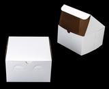 "1212 - 8"" x 8"" x 5"" White/Brown Lock & Tab Box without Window"