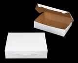 "1221 - 12"" x 9"" x 3"" White/Brown without Window, Lock & Tab Box With Lid"