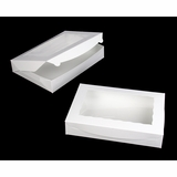 "1856 - 14"" x 10"" x 2 1/2"" White/White Lock & Tab Box with Window"