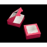 "2097 - 6"" x 6"" x 2 1/2"" Pink/White Lock & Tab Box with Window"
