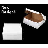 "241 - 10"" x 10"" x 4"" White/Brown Lock & Tab Box, without Window"