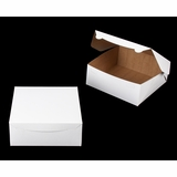 "241 - 10"" x 10"" x 4"" White/Brown Lock & Tab Box without Window"