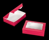 "2442 - 10"" x 7"" x 2 1/2"" Pink/White Lock & Tab Cookie Box with Window"
