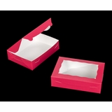 "2442 - 10"" x 7"" x 2 1/2"" Pink/White Lock & Tab Box with Window"