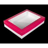 "294x1835 - 19"" x 14"" x 4"" Pink/White Lid, White/White Base Lock & Tab Box Set with Window, 50 COUNT"