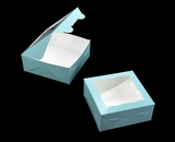 "3228 - 6"" x 6"" x 2 1/2"" Diamond Blue/White Lock & Tab Box with Window"