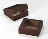 "3357 - 8"" x 8"" x 2 1/2"" Chocolate/Brown Timesaver Box with Window"