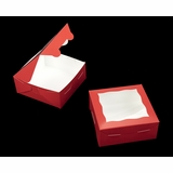 "3660 - 6"" x 6"" x 2 1/2"" Red/White Lock & Tab Box with Window"