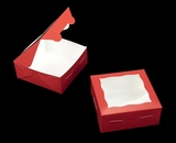 "3660 - 6"" x 6"" x 2 1/2"" Red/White Lock & Tab Cookie Box with Window"