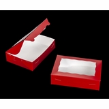 "3685 - 10"" x 7"" x 2 1/2"" Red/White Lock & Tab Box with Window"