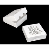 """4040 - 8"""" x 8"""" x 2 1/2"""" White/White Candles Window, Timesaver Holiday Box, 50 COUNT"""
