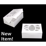 """4120 - 10"""" x 7"""" x 4"""" White/White with Easter Egg Window, Lock & Tab Box With Lid"""