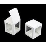 "4156 - 4"" x 4"" x 4 5/8"" White/White with Window, Snap Lock Bottom"