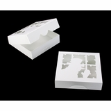 "4188 - 10"" x 10"" x 2 1/2"" White/White with Peeking Snowman Window, Timesaver Box With Lid, 50 Count"