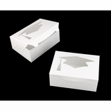 "4193 - 10"" x 7"" x 4"" White/White Graduation Cap Window, Lock & Tab Box"