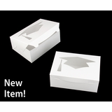 "4193 - 10"" x 7"" x 4"" White/White with Graduation Cap Window, Lock & Tab Box With Lid, 50 COUNT"