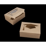 "4194 - 10"" x 7"" x 4"" Brown/Brown Graduation Cap Window Lock & Tab Box"