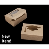 "4194 - 10"" x 7"" x 4"" Brown/Brown with Graduation Cap Window, Lock & Tab Box With Lid, 50 COUNT"