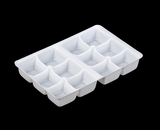 "4198 - 7"" x 4 3/8"" x 7/8"" White 12 Cavity Candy Tray"
