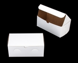 "741 - 9"" x 5"" x 4"" White/Brown Lock & Tab Box without Window"