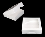"949 - 9"" x 9"" x 2 1/2"" White/White Timesaver Cookie Box with Window"