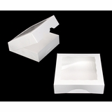 "949 - 9"" x 9"" x 2 1/2"" White/White with Window, Timesaver Box With Lid"