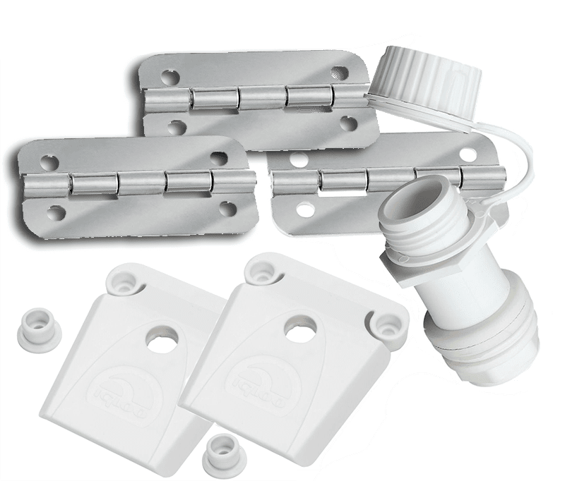 Igloo Replacement parts kit two latches, 3 stainless hinges & threaded drain plug