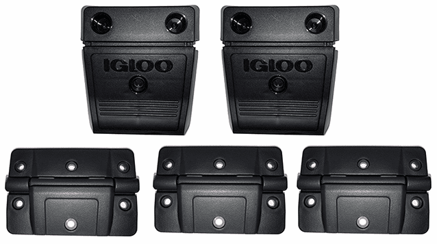 New OVERSIZED Plastic Igloo Hinge Kit 2 latches 3 hinges