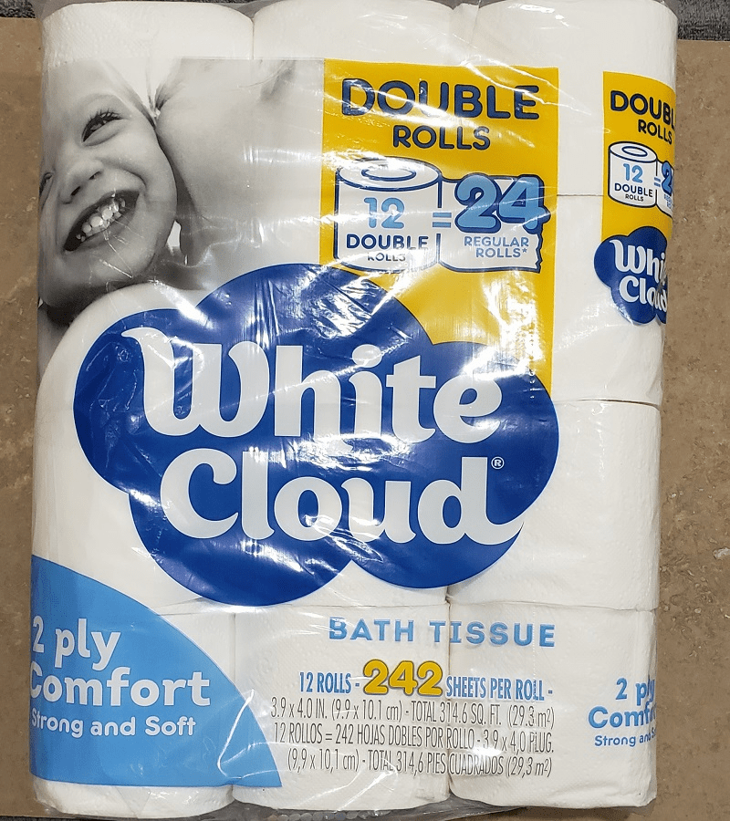 White Cloud 2ply Toilet Paper 12X Double Rolls 242 Sheets per Roll