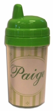 10 oz sippy cup with baby pinstripe paper with circles