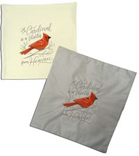 """14"""" Square Embroidered Cardinal Pillow Case"""