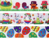 "7/8"" Easter Print Grosgrain Ribbon - by the yard"
