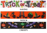 "7/8"" Halloween Print Grosgrain Ribbon - by the yard"