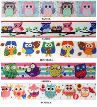"7/8"" Owls Print Grosgrain Ribbon - by the yard"