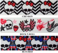 "7/8"" Skulls Print Grosgrain Ribbon - by the yard"