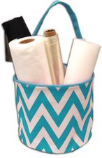 Aqua & White Chevron Bucket Tote