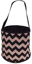 Black & Gray Zig Zag Bucket Tote