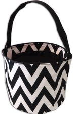 Black & White Chevron Bucket Tote