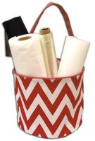 Clearance Priced - Red & White Chevron Bucket Tote