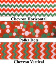 Christmas Print Grosgrain Ribbon - by the yard